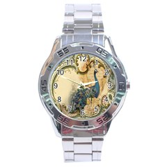 Victorian Swirls Peacock Floral Paris Decor Stainless Steel Watch (men s) by chicelegantboutique