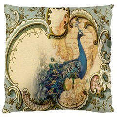 Victorian Swirls Peacock Floral Paris Decor Large Cushion Case (two Sided)  by chicelegantboutique