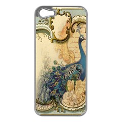 Victorian Swirls Peacock Floral Paris Decor Apple Iphone 5 Case (silver) by chicelegantboutique