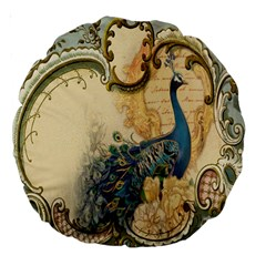 Victorian Swirls Peacock Floral Paris Decor 18  Premium Round Cushion  by chicelegantboutique