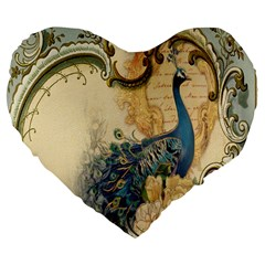 Victorian Swirls Peacock Floral Paris Decor 19  Premium Heart Shape Cushion by chicelegantboutique