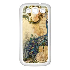 Victorian Swirls Peacock Floral Paris Decor Samsung Galaxy S3 Back Case (white) by chicelegantboutique