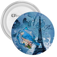 Girly Blue Bird Vintage Damask Floral Paris Eiffel Tower 3  Button