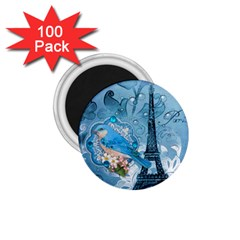 Girly Blue Bird Vintage Damask Floral Paris Eiffel Tower 1 75  Button Magnet (100 Pack) by chicelegantboutique