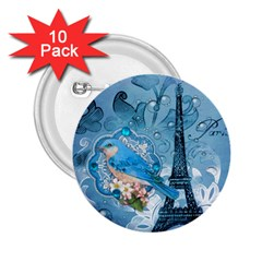 Girly Blue Bird Vintage Damask Floral Paris Eiffel Tower 2 25  Button (10 Pack) by chicelegantboutique
