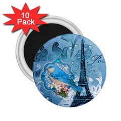 Girly Blue Bird Vintage Damask Floral Paris Eiffel Tower 2 25  Button Magnet (10 Pack) by chicelegantboutique