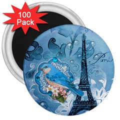 Girly Blue Bird Vintage Damask Floral Paris Eiffel Tower 3  Button Magnet (100 Pack)