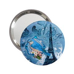 Girly Blue Bird Vintage Damask Floral Paris Eiffel Tower Handbag Mirror (2 25 ) by chicelegantboutique
