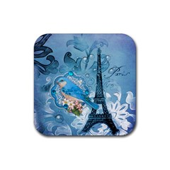 Girly Blue Bird Vintage Damask Floral Paris Eiffel Tower Drink Coaster (square)