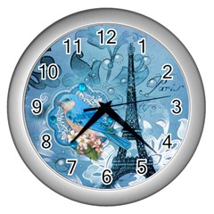 Girly Blue Bird Vintage Damask Floral Paris Eiffel Tower Wall Clock (silver) by chicelegantboutique