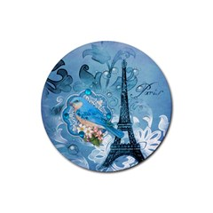 Girly Blue Bird Vintage Damask Floral Paris Eiffel Tower Drink Coaster (round) by chicelegantboutique
