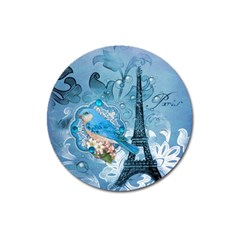 Girly Blue Bird Vintage Damask Floral Paris Eiffel Tower Magnet 3  (round) by chicelegantboutique
