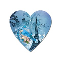 Girly Blue Bird Vintage Damask Floral Paris Eiffel Tower Magnet (heart) by chicelegantboutique