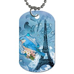 Girly Blue Bird Vintage Damask Floral Paris Eiffel Tower Dog Tag (two Sided)  by chicelegantboutique