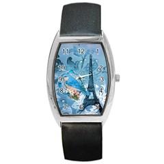 Girly Blue Bird Vintage Damask Floral Paris Eiffel Tower Tonneau Leather Watch by chicelegantboutique