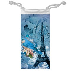Girly Blue Bird Vintage Damask Floral Paris Eiffel Tower Jewelry Bag by chicelegantboutique