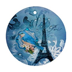 Girly Blue Bird Vintage Damask Floral Paris Eiffel Tower Round Ornament (two Sides) by chicelegantboutique