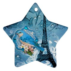 Girly Blue Bird Vintage Damask Floral Paris Eiffel Tower Star Ornament (two Sides) by chicelegantboutique