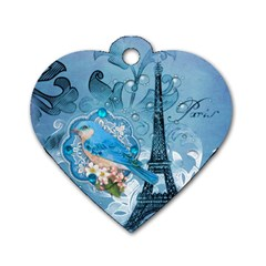 Girly Blue Bird Vintage Damask Floral Paris Eiffel Tower Dog Tag Heart (one Sided)  by chicelegantboutique