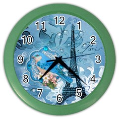 Girly Blue Bird Vintage Damask Floral Paris Eiffel Tower Wall Clock (color) by chicelegantboutique