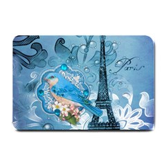 Girly Blue Bird Vintage Damask Floral Paris Eiffel Tower Small Door Mat by chicelegantboutique