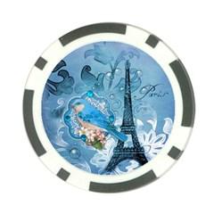 Girly Blue Bird Vintage Damask Floral Paris Eiffel Tower Poker Chip by chicelegantboutique