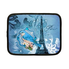 Girly Blue Bird Vintage Damask Floral Paris Eiffel Tower Netbook Case (small) by chicelegantboutique