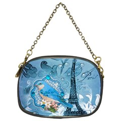Girly Blue Bird Vintage Damask Floral Paris Eiffel Tower Chain Purse (one Side) by chicelegantboutique
