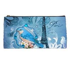 Girly Blue Bird Vintage Damask Floral Paris Eiffel Tower Pencil Case by chicelegantboutique