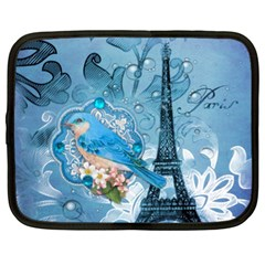 Girly Blue Bird Vintage Damask Floral Paris Eiffel Tower Netbook Case (xl) by chicelegantboutique
