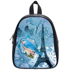 Girly Blue Bird Vintage Damask Floral Paris Eiffel Tower School Bag (small) by chicelegantboutique