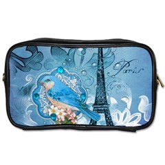 Girly Blue Bird Vintage Damask Floral Paris Eiffel Tower Travel Toiletry Bag (two Sides) by chicelegantboutique