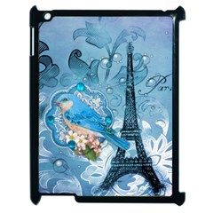 Girly Blue Bird Vintage Damask Floral Paris Eiffel Tower Apple Ipad 2 Case (black) by chicelegantboutique