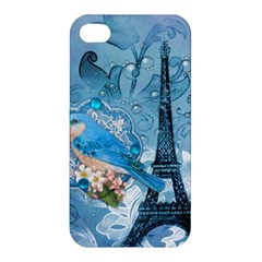 Girly Blue Bird Vintage Damask Floral Paris Eiffel Tower Apple Iphone 4/4s Hardshell Case by chicelegantboutique