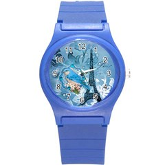 Girly Blue Bird Vintage Damask Floral Paris Eiffel Tower Plastic Sport Watch (small) by chicelegantboutique