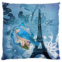 Girly Blue Bird Vintage Damask Floral Paris Eiffel Tower Large Cushion Case (two Sided)  by chicelegantboutique