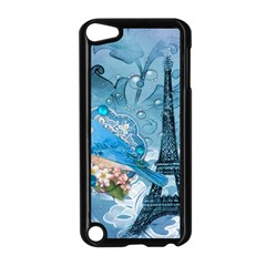 Girly Blue Bird Vintage Damask Floral Paris Eiffel Tower Apple Ipod Touch 5 Case (black) by chicelegantboutique
