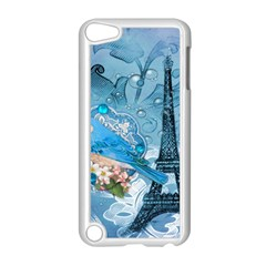 Girly Blue Bird Vintage Damask Floral Paris Eiffel Tower Apple Ipod Touch 5 Case (white)