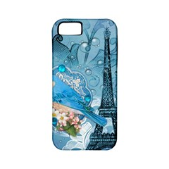 Girly Blue Bird Vintage Damask Floral Paris Eiffel Tower Apple Iphone 5 Classic Hardshell Case (pc+silicone) by chicelegantboutique