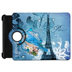 Girly Blue Bird Vintage Damask Floral Paris Eiffel Tower Kindle Fire Hd 7  Flip 360 Case by chicelegantboutique