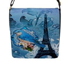 Girly Blue Bird Vintage Damask Floral Paris Eiffel Tower Flap Closure Messenger Bag (large)