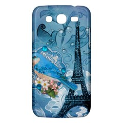Girly Blue Bird Vintage Damask Floral Paris Eiffel Tower Samsung Galaxy Mega 5.8 I9152 Hardshell Case