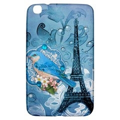 Girly Blue Bird Vintage Damask Floral Paris Eiffel Tower Samsung Galaxy Tab 3 (8 ) T3100 Hardshell Case  by chicelegantboutique
