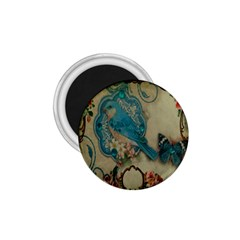 Victorian Girly Blue Bird Vintage Damask Floral Paris Eiffel Tower 1 75  Button Magnet by chicelegantboutique