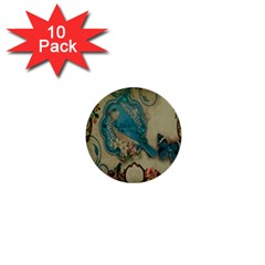 Victorian Girly Blue Bird Vintage Damask Floral Paris Eiffel Tower 1  Mini Button (10 Pack) by chicelegantboutique