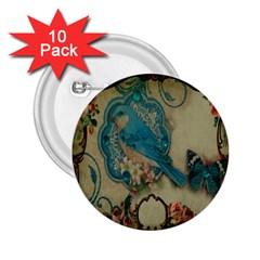 Victorian Girly Blue Bird Vintage Damask Floral Paris Eiffel Tower 2 25  Button (10 Pack)