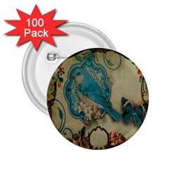 Victorian Girly Blue Bird Vintage Damask Floral Paris Eiffel Tower 2.25  Button (100 pack) by chicelegantboutique