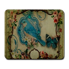 Victorian Girly Blue Bird Vintage Damask Floral Paris Eiffel Tower Large Mouse Pad (rectangle) by chicelegantboutique