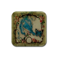 Victorian Girly Blue Bird Vintage Damask Floral Paris Eiffel Tower Drink Coaster (square) by chicelegantboutique