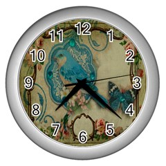 Victorian Girly Blue Bird Vintage Damask Floral Paris Eiffel Tower Wall Clock (silver) by chicelegantboutique